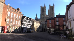 Lincoln England old town center Cathedral 4K Stock Footage