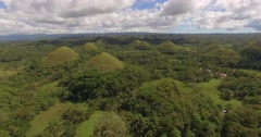 Slow moving aerial over chocolate hills in Bohol, Philippines - stock footage