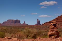 Balanced stacked rock in Monument Valley, Utah, USA for balance and harmony Stock Photos