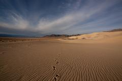 Footprints on Eureka Dunes, sand dunes in Death Valley National Park, California Stock Photos