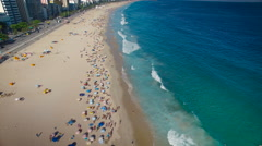 Overhead aerial shot of people on Ipanema Beach , Rio de Janeiro Stock Footage