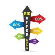 Directional arrow big offer sale banner design Stock Illustration