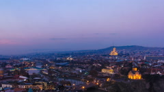 Timelapse shooting historical part Tbilisi, evening Stock Footage
