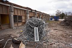Pile of scrap metal at construction site Stock Photos