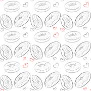 Beautiful vector seamless pattern with line drawn donuts - stock illustration