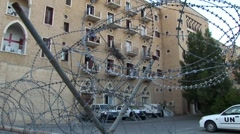 UN United Nations HQ in Nicosia, Cyprus buffer zone - barbed wire Stock Footage