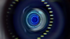 The camera turns around and in the lens reflected circular light sources - stock footage