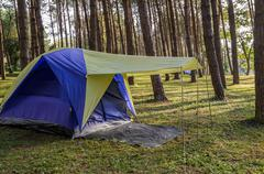 Camping tents in pine  tree forest at Pang Oung in Mae Hong Son, Thailand - stock photo