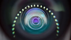 The camera moves downwards and in the lens reflected circular light sources Stock Footage