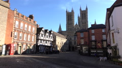 Lincoln England tourist group in old town square 4K Stock Footage
