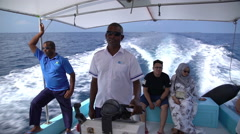 Captain at the helm of a pleasure boat. Stock Footage