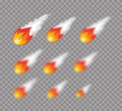 Meteorite. Falling fireball. Set meteorite with varying degrees of blur. blur Piirros