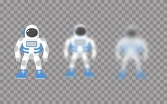 Astronaut. Space traveler. Astronaut with varying degrees of blur. Astronaut  Stock Illustration