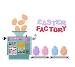 Easter factory. Production of beautiful eggs. Production technology of colore Stock Illustration