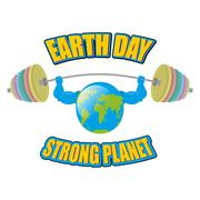 Earth white background. Earth Day. Strong planet. Planet bodybuilder with hug - stock illustration