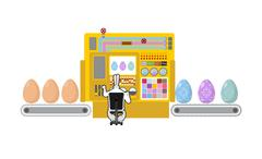 Happy Easter. Apparatus for production of Easter eggs. Chicken egg Easter egg - stock illustration