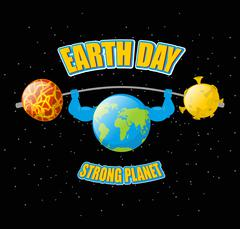 Earth Day. Powerful planet and sport barbell. Lifting weights.  Fitness Earth Stock Illustration