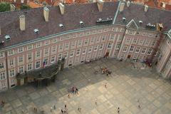 Prague president palace courtyard in the prague castle - stock photo