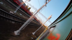 The electric train arrives at its destination. Infrastructure of a large station - stock footage
