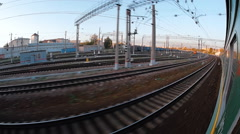 The electric train arrives at its destination. Infrastructure of a large station Stock Footage