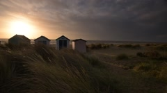 Southwold Beach Huts at Sunrise Stock Footage