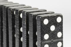 Black Domino bricks - stock photo