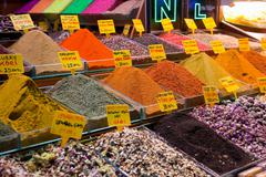 Ground spices for sale at spice bazaar, Istanbul, Turkey Stock Photos