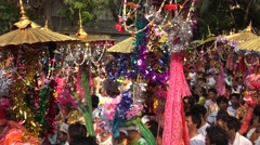 Parade children and people in Poy Sang Long festival. Stock Footage