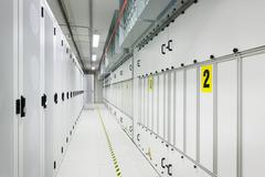 Marked hallway in server room Stock Photos