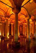 The byzantine Basilica Cistern, Istanbul, Turkey Stock Photos