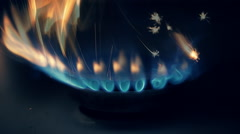 Ignition of the gas from the burner gas kitchen stove by magnesium flint - stock footage