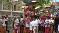 Pparade children and people in Poy Sang Long festival 2016. Stock Footage