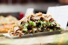 Plate of Peking duck rolls Stock Photos