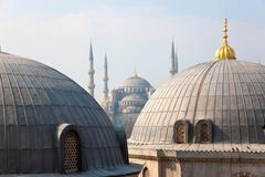 Blue Mosque seen from Aya Sofya, Istanbul, Turkey - stock photo