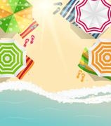 Summer Time Background. Sunny Beach in Flat Design Style Vector Stock Illustration