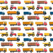 Truck Cars Seamless Pattern Background Vector Illustration Stock Illustration