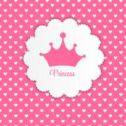 Princess Background with Crown Vector Illustration - stock illustration