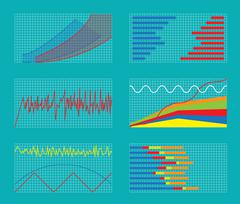 Set of Graphs and Charts. Data, Statistic, Informative - stock illustration