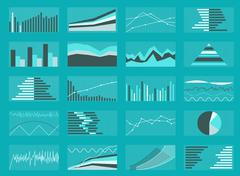 Set of Graphs and Charts. Data, Statistic, Informative Stock Illustration