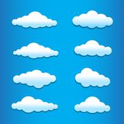 cartoon clouds set - stock illustration