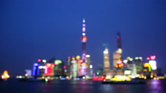 Fast motion:blur lights of Shanghai Pudong night scene Stock Footage