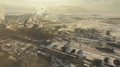 Air pollution. Metallurgical plant. Top shooting. Stock Footage