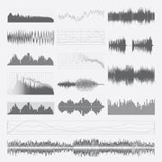 Stock Illustration of Music sound waves vector set isolated on a white background