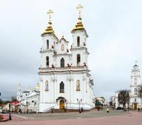 Resurrection church, town hall and Holy Dormition Cathedral, Vitebsk, Belarus - stock photo