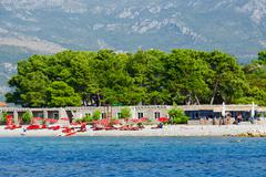 Beach on the island of Sveti Nikola, Budva, Montenegro - stock photo