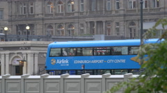 Airlink bus parked on a street in Edinburgh Stock Footage