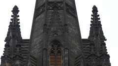 Close view of the tower of The Hub, Edinburgh Stock Footage