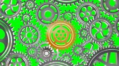 Rotating metal gears loop - stock footage