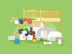 Dog and baby sleep Stock Illustration