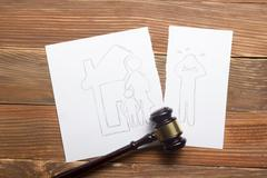 Family law concept. Divorce section of the property by legal means Stock Photos